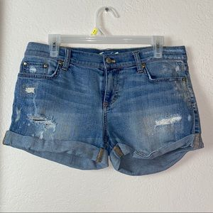 Juicy Couture distressed denim jean shorts
